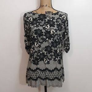 Perceptions New York Lace Print Floral Blouse